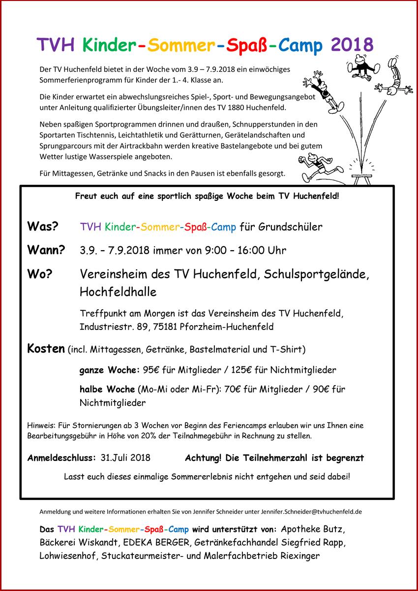 TVH Kinder-Sommer-Spaß-Camp 2018 - TV 1880 Huchenfeld e.V.